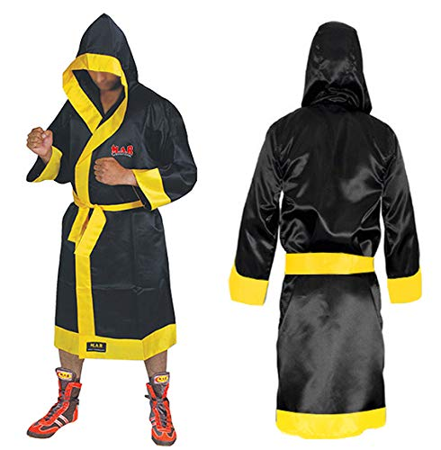MAR International Ltd Boxing And Kickboxing Robe Muay Thai Gown Martial Arts Training Supplies Gear Polyester Silk Satin Fabric BlackYellow X Large