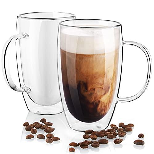 Large Coffee Mugs, Double Wall Glass Coffee Mugs Set of 2, 16 oz Insulated Coffee Mug with Handle,...