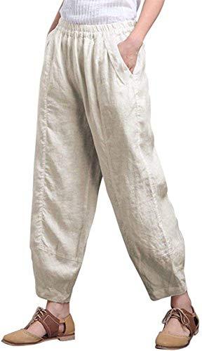 zyl Pantalón Capri de Pierna Ancha de Lino de algodón para Mujer Pantalón de Linterna con Ajuste Relajado Informal CL