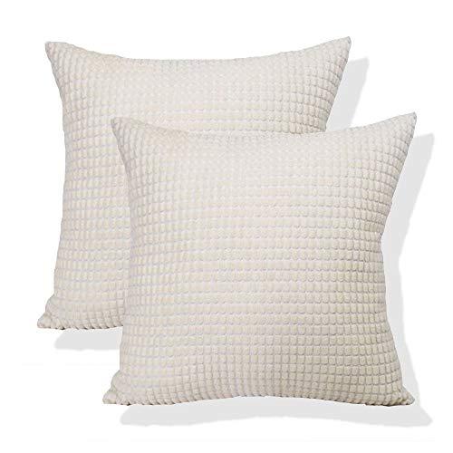 AlanRoye - Set di 2 federe per cuscino super morbide in velluto a coste color avorio, motivo a righe su entrambi i lati, decorazione per la casa e per divano letto