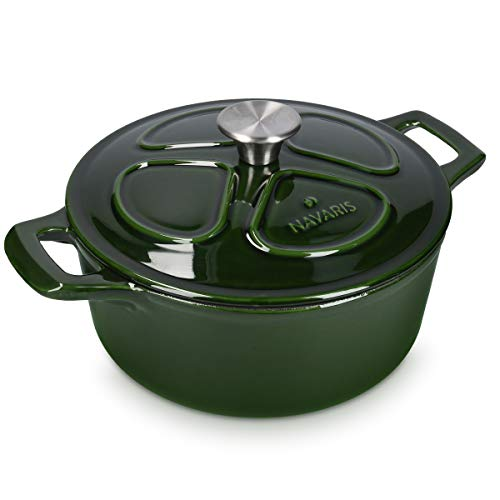 Navaris Cacerola de Hierro Fundido con Tapa - Cazuela con 2 Asas para cocinar en Horno Plancha - Olla cocotte Redonda 24 CM - Marmita de 3.5 L - Verde