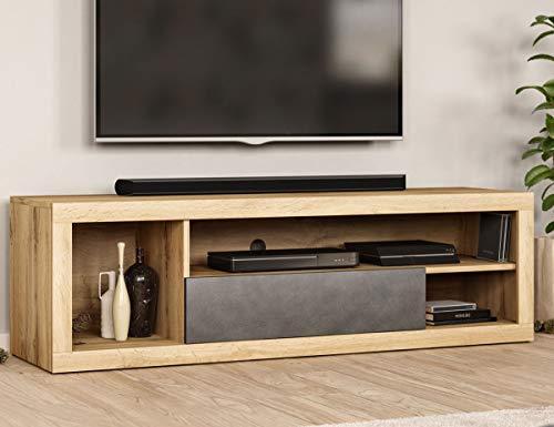 WFL GROUP Mueble TV Moderno - Color de Madera de Estilo Escandinavo - 140 cm - TV de hasta 55