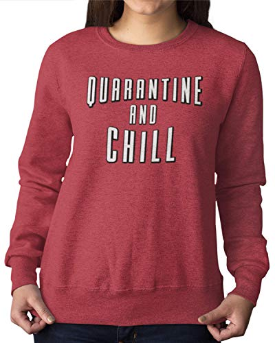 Go All Out Large Vintage Heather Red Adult Quarantine And Chill Sweatshirt Crewneck