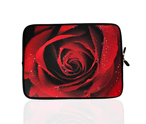 15.6-Inch Neoprene Laptop Sleeve Case with Hidden Handle for 14 14.1 15 15.6' Inch Men Women Acer/Asus/Dell/Lenovo/Thinkpad/Toshiba (15-15.6 Inch, Red Rose)