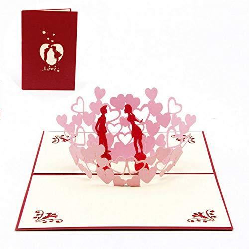 HONGYAN Tarjeta de felicitación Tarjetas 3D Creativas Personalizadas 3D Pop Up Presente Regalos para el día de la Madre Tarjetas de felicitación Invitaciones de cumpleaños de Boda Regalo de Amor