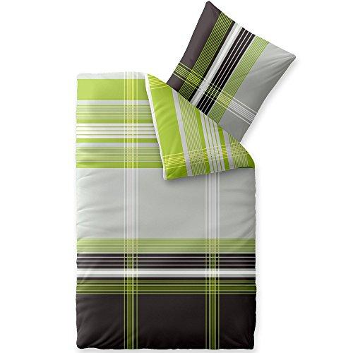 CelinaTex Touchme Bettwäsche 200 x 220 cm 3teilig Baumwolle Bettbezug Biber Corinna Streifen kariert grün grau anthrazit