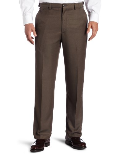 Haggar Men's Cool 18 Hidden Comfort Waist Plain Front Pant, Heather Brown,32x32