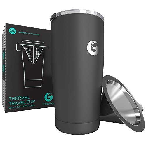 Pour Over Coffee Travel Mug - Coffee Gator all-in-one Travel Coffee Maker and Thermal Cup - Vacuum Insulated Stainless Steel Cup with Paperless Filter Dripper - 20oz - Gray