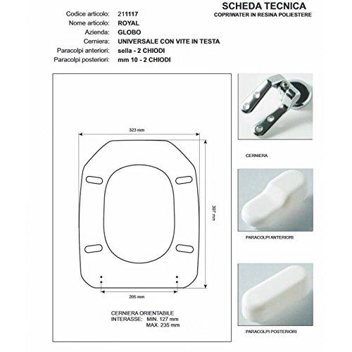 ACB/COLBAM WC-bril van hout gecoat met polyester voor Globo ROYAL CHAMPAGNE ritssluiting Soft Close Cromo-Sedile-as