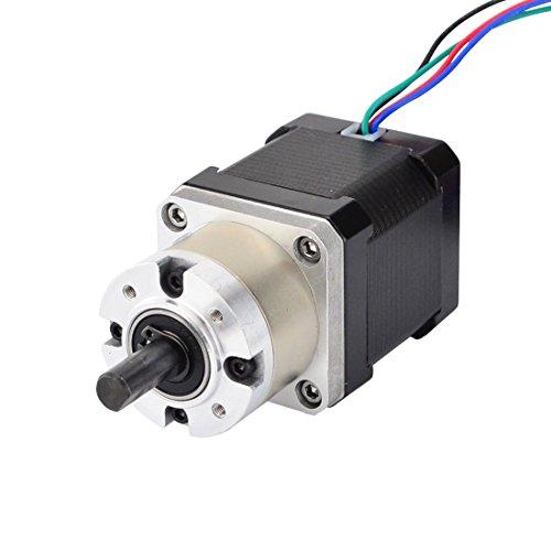 Stepperonline Nema 17 - Motore passo-passo L = 48 mm Φ8 mm con rapporto di trasmissione 5: 1 ingranaggio planetario per stampante 3D, braccio robotico, fresa CNC