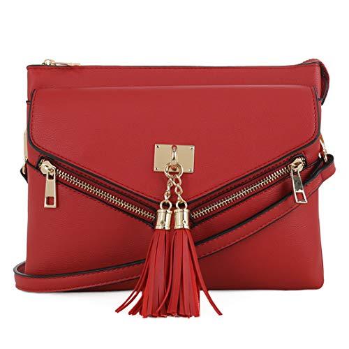 EMPERIA Estelle Kleine Doppelfächer Crossbody Tasche Schultertasche Handtasche für Damen, Rot (rot), Einheitsgröße