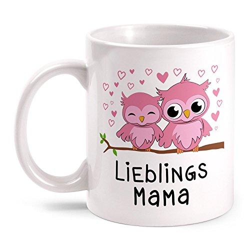 Fashionalarm Tasse Eulen Lieblingsmama - beidseitig bedruckt mit Spruch & Eulen Motiv   Geburtstag Geschenk Idee für Mama zum Muttertag Danke, Farbe:weiß
