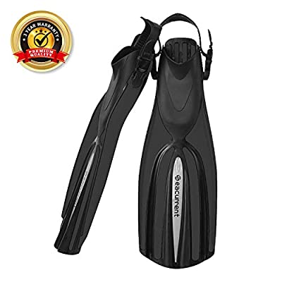Seacurrent Scuba Diving Fins, Open Heel Adjustable Split Fins, for All Diving and Snorkeling Adult Women and Men (Black, L/XL)