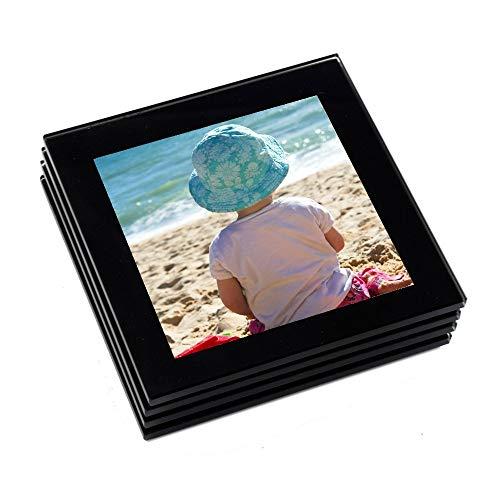 Hochwertiges Foto-Glasuntersetzer-Set Schwarz