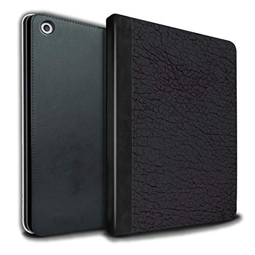 Tablet Hülle kompatibel mit Apple iPad 9.7 2018/6th Gen Leder Patch Effekt Oliv Schwarz Flip PU Leder Hülle Cover