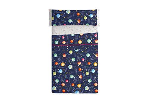 Burrito Blanco 160 Juego de Sábanas de 105 Infantiles con Un diseño de Estampado de Planetas/Juego de Sábanas Infantiles para Cama Individual de 105x190 hasta 105x200cm, Naranjas y Azul Oscuro