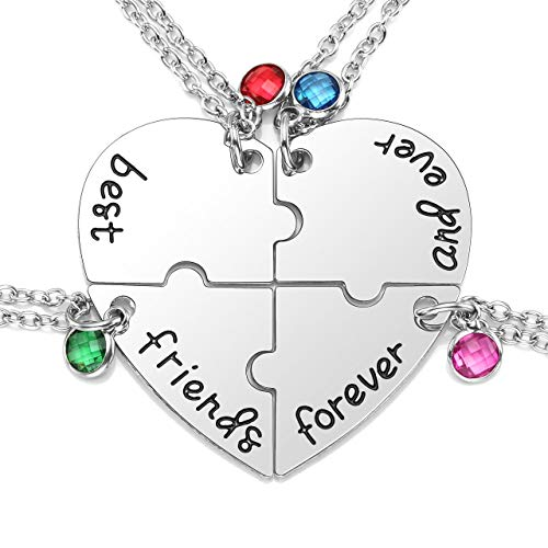 JOVIVI 4pcs/set Best Friend Forever and Ever Necklaces Heart Puzzle BBF Friendship Pendant Necklace Jewelry