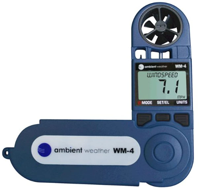 Ambient Weather WM-4 Handheld Weather Station w/Windspeed, Direction, Temperature, Humidity, Compass, Dew Point, Comfort Index, Psychrometer