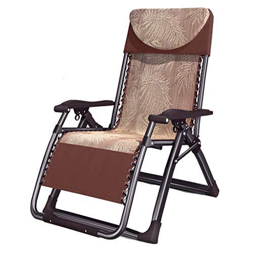Liegen Recliner Balkon Coole Liegestühle Home Verbreiterung Klappstühle Büro tragbare Mittagspause Liegestühle (Color : Brown, Size : 180 * 72 * 77cm)