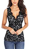 MISS MOLY Sexy Tops for Women Sleeveless Lace Tank Elegant Slim Fit Summer Tops Blouse Shirts Black XS