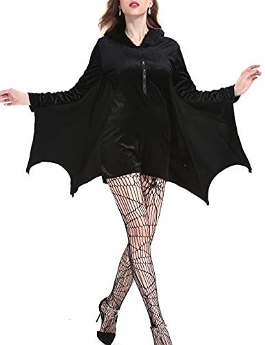 Disfraz de bruja para mujer, disfraz de murcilago oscuro, Halloween, Navidad, Pascua, fiesta, rendimiento, talla grande, negro_XXL