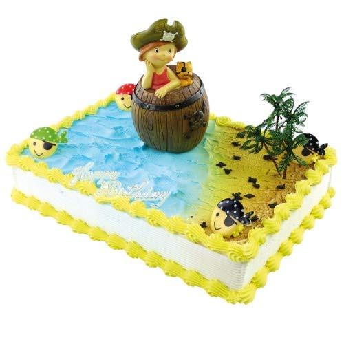Jacobi Decor Tortendekoration Kindergeburtstag | Motivtorte Piraten-Mädchen im Holzfass-Spardose | Kuchen und Torten schnell und einfach dekoriert
