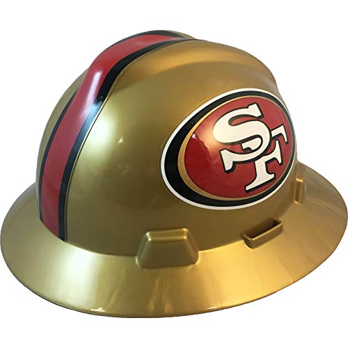 MSA 10194781 NFL V-Gard Full Brim Hard Hat, San Francisco 49ers