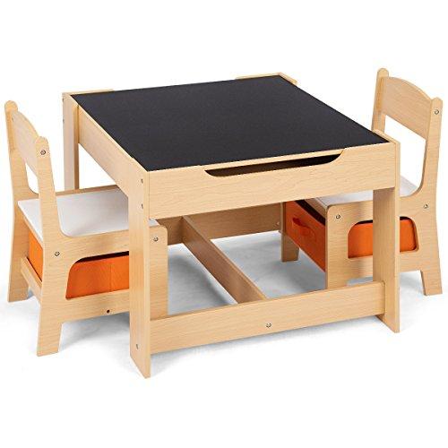 COSTWAY 3 TLG. Kindersitzgruppe, Sitzgruppe Kinder aus Holz, Kindertisch mit 2 Stühlen, Kindertischgruppe, Kindermöbel, Maltisch, Kindersitzgarnitur, für Kleinkinder im Alter von 3-7 Jahren (Orange)
