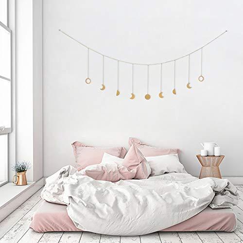 OCIOLI Moon Phase Garland with Chains Boho Hanging Ornaments Moon Hang Art Room Decor for Wedding Home Office Nursery Room Dorm (Gold Moon)