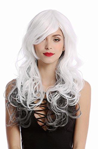 WIG ME UP - GF-W2048-1B-1001+100 Perruque longue blanche avec cheveux noirs dans le cou ondulée raie dame diva