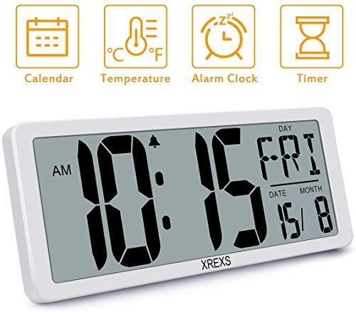 XREXS Digitale Funkwanduhr - 13,46'' Grosse LCD Anzeige Wanduhr, Funk Wanduhr Digital mit Kalender, Wecker, Temperatur und Timer, Lauter Alarm und Klar, Kalenderuhr für Decor(Batterie enthalten)