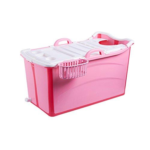 WENJUN Folding Thermische Kinder Badewannen 4 Bis 15 Jahre Alt Private Home Baby Pool PP Überdachte Badewanne ( Farbe : Pink , größe : 82*42*43cm )