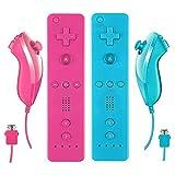 Beproto Mando a distancia Wii y Nunchuck, 2 paquetes de controlador Wii compatible con consola Wii Wii U. (azul y rosa)