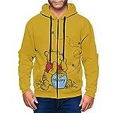 Anime Cartoon Winnie Pooh Hoodie Unisex Full-Zip Long Sleeve Jacket Printed Lightweight Pullover Mens Hooded Sweatshirt. XL Black