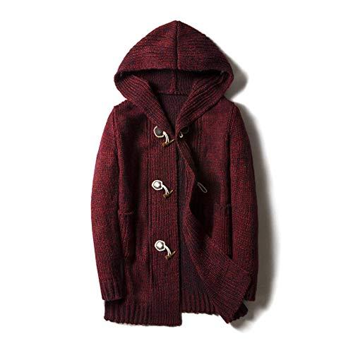 N-B Suéter de los hombres de la mitad de longitud gruesa suéter con capucha chaqueta de cuerno botón chaqueta de tallas más de los hombres de otoño
