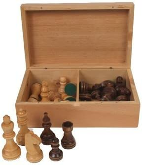 3.8 King SKU The Single Staunton Series Chess Pieces in Sheesham and Box Wood with Wooden Board /& Storage Box C0599