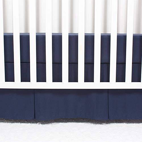 CaSaJa Classic Microfiber Crib Skirt with 2 Sides Pleated, Soft Breathable Dust Ruffle Fits Standard Crib and Toddler Bed, Navy Blue Color for Boys, 14 inches Drop, Navy