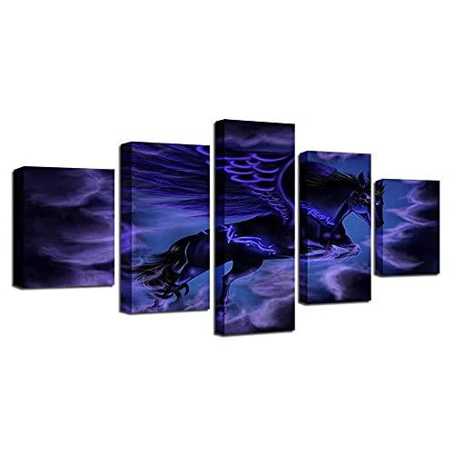 WANGZHONG 5 Piezas Impresión En Lienzo Resumen De Púrpura De Caballo Alado Cuadro De Pintura Póster De Moderno Oficina Sala De Estar O Dormitorio Decoración del Hogar Arte De Pared