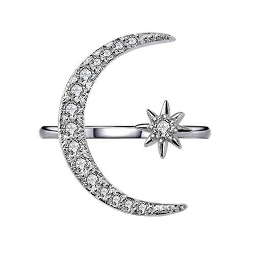 HYhy, offener Mondsichel-Ring mit Sternen, verstellbar, ideal als Verlobungsring / Geschenk zum Jahrestag / Punk-Ring As the description silber