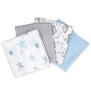 Navaris 4x Toalla para bebé de muselina - Toallitas ecológicas para cuidado infantil - Paños de tela de bambú y algodón - Pañales de 80 x 80 CM