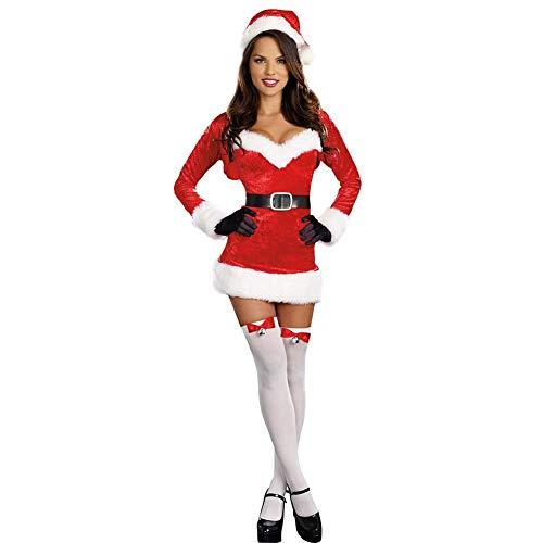 perfecti Navidad Tallas Grandes Mujer Disfraz Mamá Noel Sexy Conjunto De Sombrero del Cosplay con Vestido, Chal, Guantes, Cinturón y Gorro, Rojo