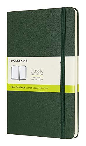 Moleskine Classic Notebook, Taccuino con Pagine Bianche, Copertina Rigida e Chiusura ad Elastico, Formato Large 13 x 21 cm, Colore Verde Mirto, 240 Pagine