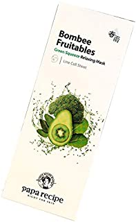 1 Pack Of 10 PCS Papa Recipe Bombee Fruitables Green Squeeze Relaxing Facial Mask Moisturizing And Soothing The Skin