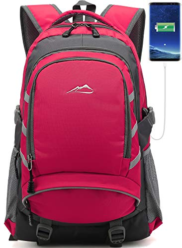 School Backpack with USB Charging Port Travel College Student Business Casual Large Durable Daypack Bookbag for Women Men fits 15.6 inch Laptop (Pink)
