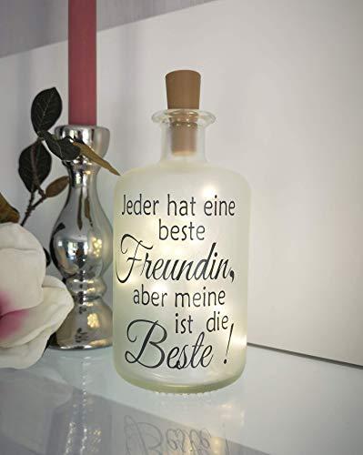 AScreativ Dekoflasche mit Beleuchtung Beste/r Freund | FreundinGeburtstag * Beleuchtung * Flaschenlampe Flaschenlicht * Bottlelight Nachtlicht Lampe