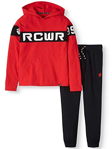 Rocawear Toddler Boys' Logo Hoodie with Twill Jogger Pants, 2-Piece Outfit Set (Red/Black) (Medium (M, 5T))