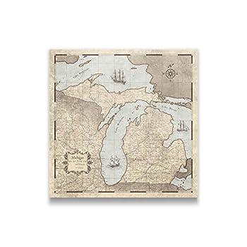 Push Pin Michigan Map Board - With Push Pins to Mark Michigan Travel - Handmade in Ohio USA - Design  Rustic Vintage