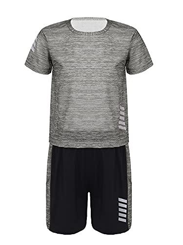 MSemis Kinder Sport Kleidung Jungen T-Shirt und Shorts Set Sportanzug Sommer Fußball Trikots Set Jogginganzug Trainingsanzug Dunkelgrau 122-128