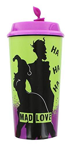 DC Comics Taza de viaje 'Mad Love Harley Quinn y The Joker, color morado   Vaso de plástico sin BPA con tapa a prueba de fugas   Taza reutilizable para bebidas calientes o frías