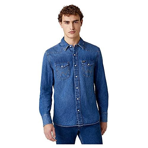 Wrangler Icons Camisa, Azul (1 Year 924), Small para Hombre
